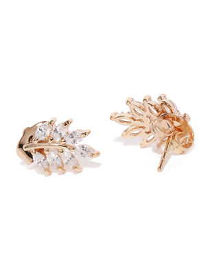 Rose Gold-Plated Leaf-Shaped Calore Studs