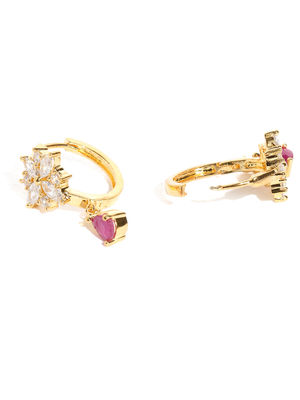 Gold-Plated Pink Cz Floral Drop Earring For Women
