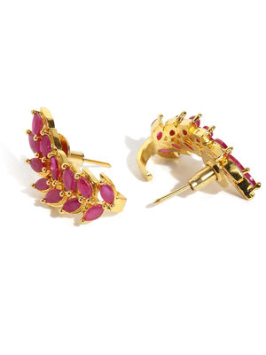 Gold -Plated Red Cz Floral Stud Earring For Women