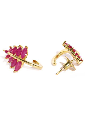 Gold-Toned & Red Studded Stud Earring For Women