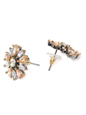 Silver -Plated Cz Floral Studs Earring For Women