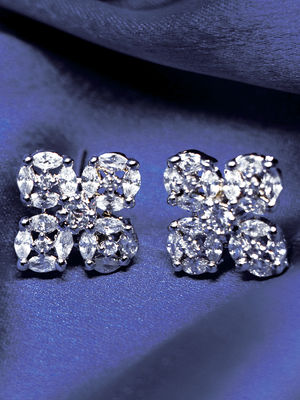 Rhodium-Plated White Floral Handcrafted Studs