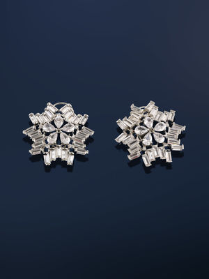 White Rhodium-Plated Circular Stud Earring For Women
