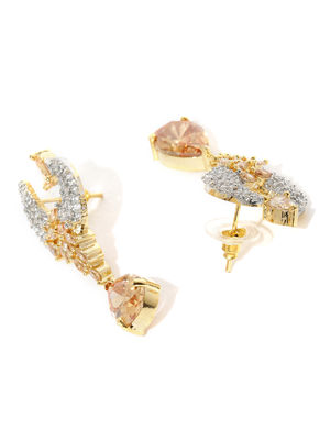 Gold -Plated Cz Contemporary Peacock Drop Earring For Women