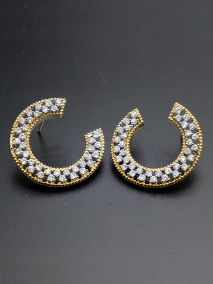Gold -Plated Cz Contemporary Stud Earring For Women
