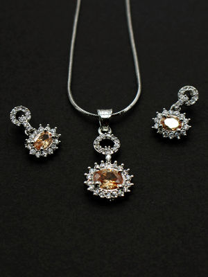 White Rhodium-Plated Cz Jewellery Set For Women