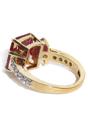 Gold-Plated & Magenta Stone-Studded Cocktail Ring