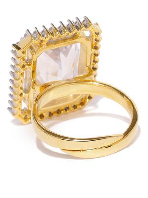 Gold-Plated Cz Finger Ring For Women