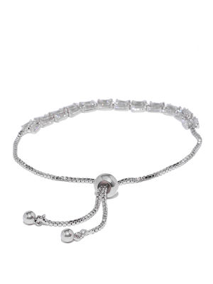 Silver Toned Cz Stone Studded Bracelet For Women