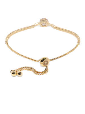 Women Gold-Toned Stone Studded Charm Bracelet