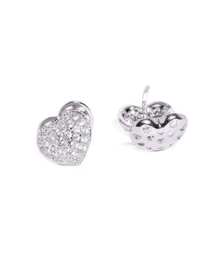 Silver-Toned Heart Shaped Cubic Zirconia Stones Studs