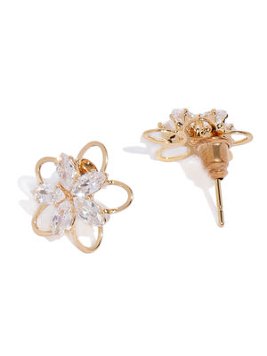 Gold-Toned Cubic Zirconia Studded Floral Studs
