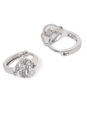Silver Diana Cz Stone-Studded Earrings