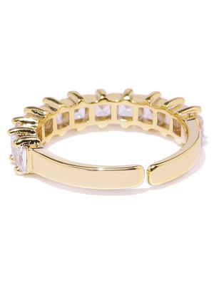 Gold Toned Band Cz Stone-Studded Ring