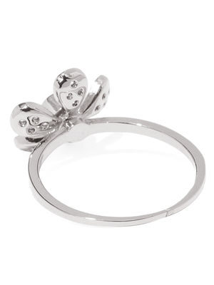Silver Toned Floral Cz Stone-Studded Ring