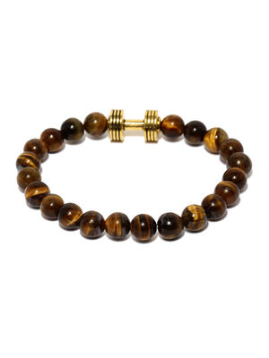 Unisex Brown Beaded Onyx Bracelet For Men