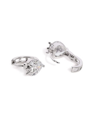 Silver-Toned Heart Shaped Atlas Small Hoop Earrings