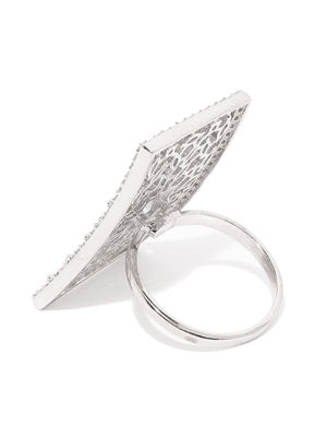 White Rhodium-Plated Cz Finger Ring For Women