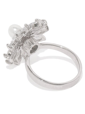 White Rhodium-Plated Cz Floral Finger Ring For Women