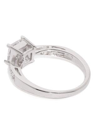 Women Silver-Toned Solitaire Finger Ring
