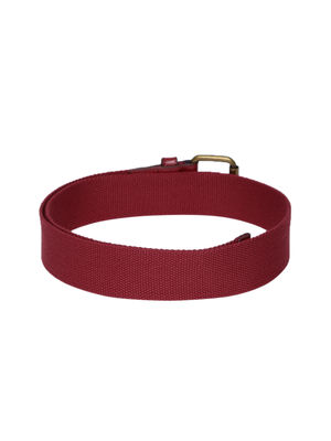 Red Textured Canvas Belt For Men