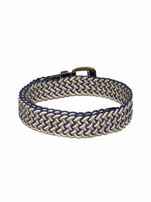 Navy & Taupe Braided Belt For Men