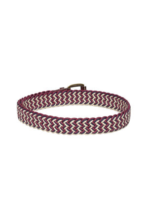 Red & Off White Braided Belt For Men