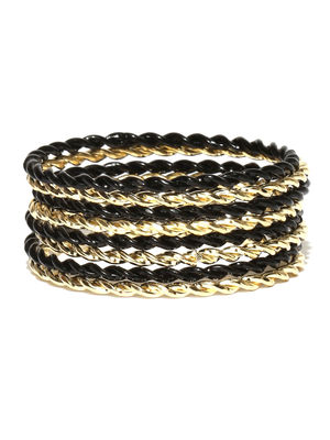 Kids - Gold & Black Bangles For Women (Set Of 8)