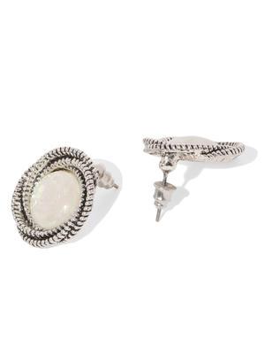Silver Tone Set Of 2 Circular Stud Earring For Women