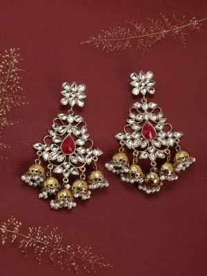 Gold-Tone Kundan Jhumka Earring For Women