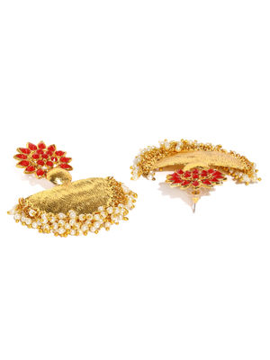 Gold Tone Red Stone Contemporary Drop Earrings For Women