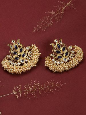Gold-Tone& Blue Chandbali Earring For Women
