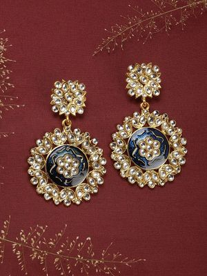 Gold Tone & Red Classic Jhumka Earring For Women