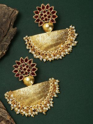 Gold Tone & Red Floral Drop Earring For Women