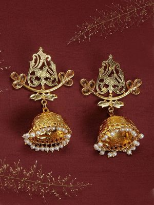 Gold-Toned Dome-Shaped Drop Earrings
