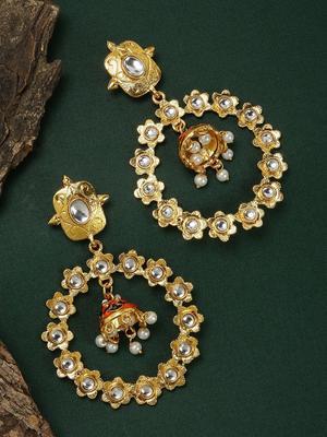 Gold Tone Circular Drop Earrings For Women