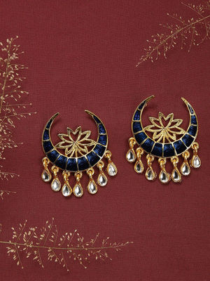 Gold-Toned Crescent Shaped Drop Earrings