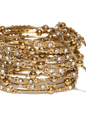 Women Set Of 12 Gold-Toned Beaded Bangles