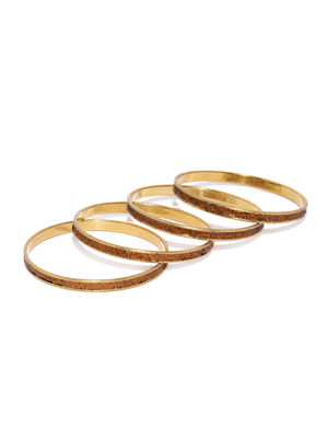 Set Of 4 Copper-Toned Embellished Bangles