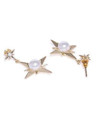 Gold-Toned Star Shaped Drop Earrings