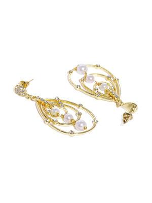 Gold-Toned Teardrop Shaped Embellished Drop Earrings