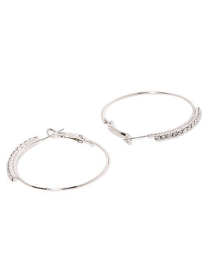 Silver-Toned Circular Hoop Earrings