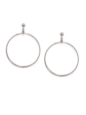 Silver-Toned Circular Drop Earrings