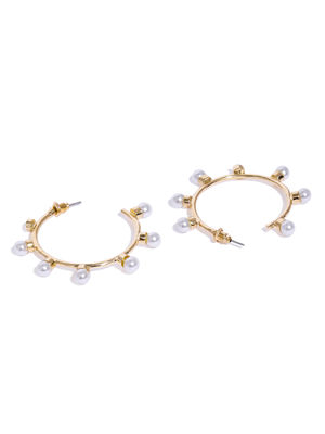 Gold-Toned Circular Half Hoop Earrings
