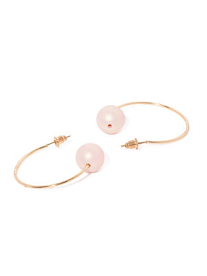 Gold-Toned & Pink Circular Half Hoop Earrings