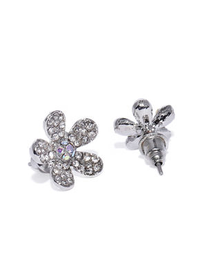 Silver-Toned Floral Studs