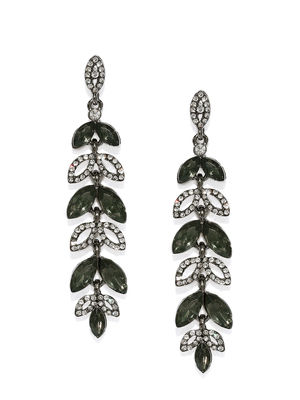 Gunmetal-Toned Contemporary Embellished Drop Earrings