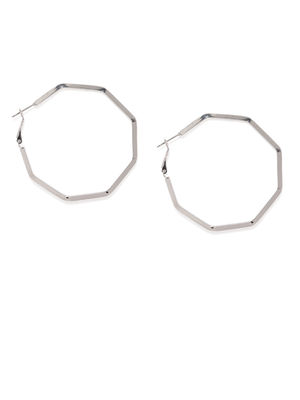 Silver-Toned Geometric Hoop Earrings