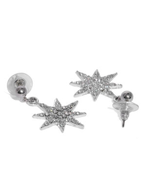 Silver-Toned Star Shaped Drop Earrings