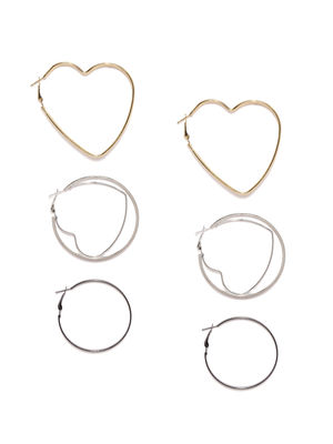 Set Of 3 Geometric Hoop Earrings